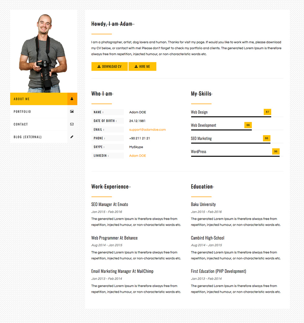 Cvpress Free Resume Cv Bootstrap Template Show Wp