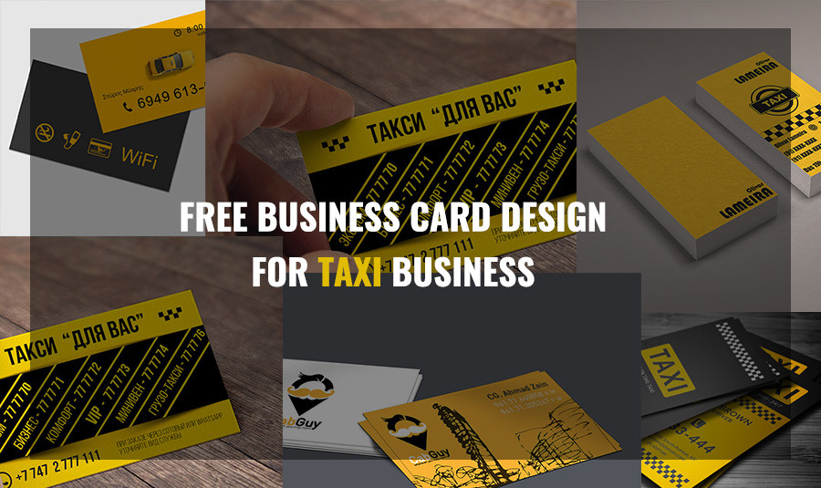 10 Yellow Color Scheme Free Taxi Business Card Template - Show WP