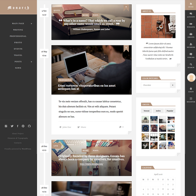monarch wordpress theme