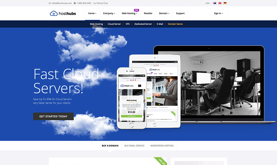 HostHubs a WHMCS Compatible Web Hosting Template - Show WP