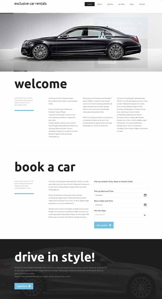Exclusive Car Rental Responsive Website Template