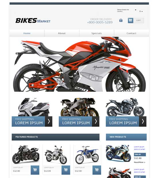 Free Bikes Market Website Template