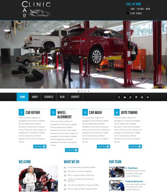 Free Car Clinic Website Template