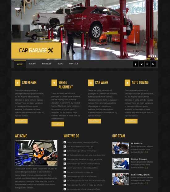 Free Car Garage Website Template