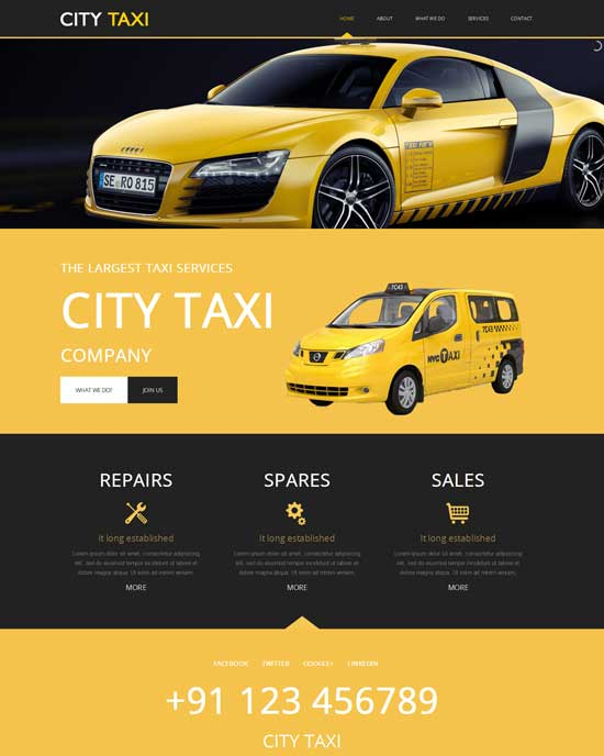 Free City Taxi services Website Template