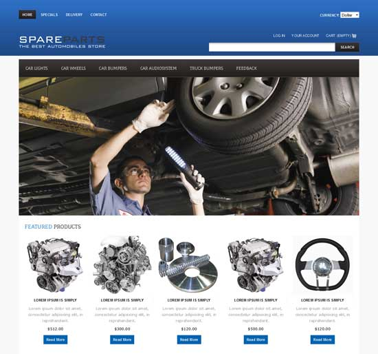 Free Spare Parts Website Template