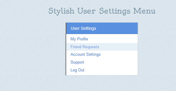 Stylish User Settings Menu