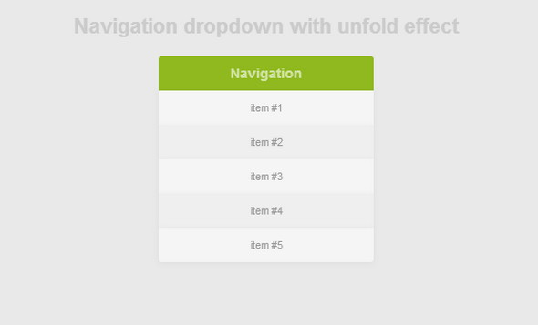 Navigation dropdown with unfold effect