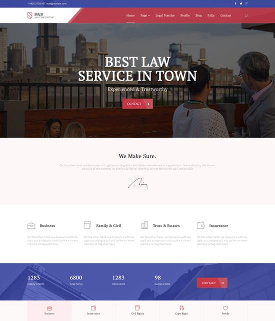 B&B – Law & Attorney WordPress Them